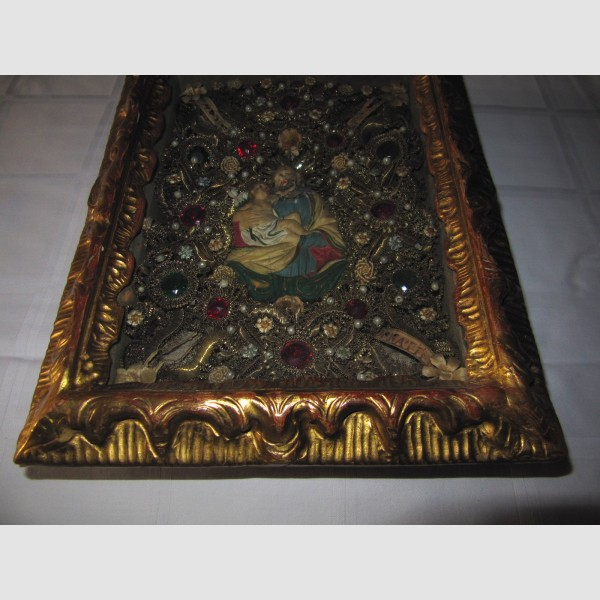 Klosterarbeit Sakral Volkskunst Heiliger Josef mit Kind