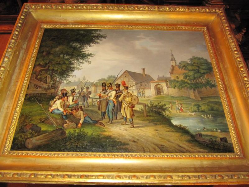 Gemälde Öl auf Leinen Ochsenaugenrahmen k u k Armee Soldaten Holz vergoldet