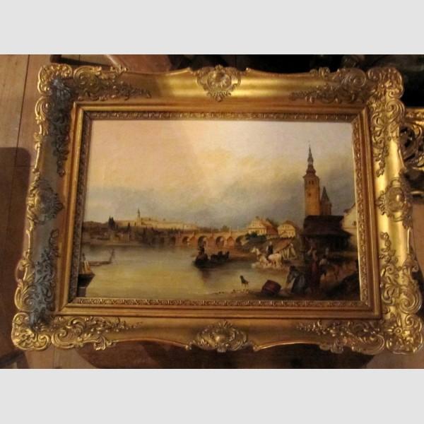 Gemälde Öl auf Leinen Prag Monarchie k u k Blondel Rahmen vergoldet