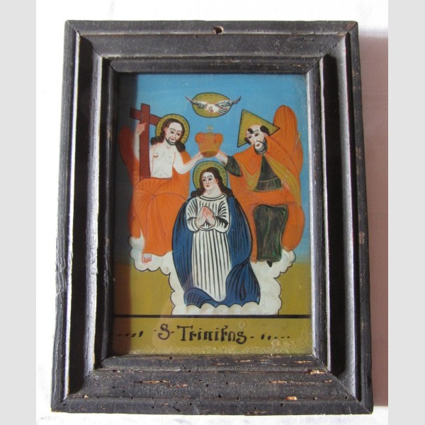 Hinterglasbild Krönung Maria Sandl 19. Jahrhundert