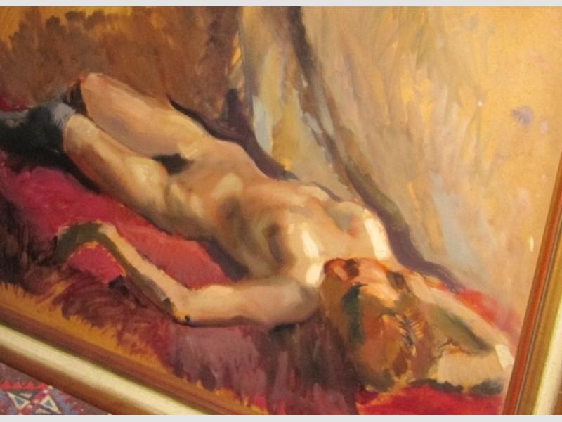 Max Hirschenauer Weiblicher Akt Nude Öl auf Leinen Signatur