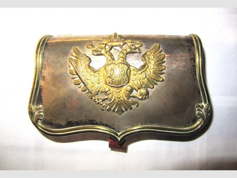 Militaria Kartuschkasten k u k Armee Silber Punzierung Rotes Leder Dianakopf