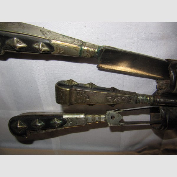 Fuhrmannbesteck 18. Jahrhundert  Lederscheide Silber Horngriffe