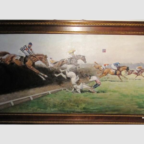 C.F. Bauer Paris Pferderennen Öl auf Leinen